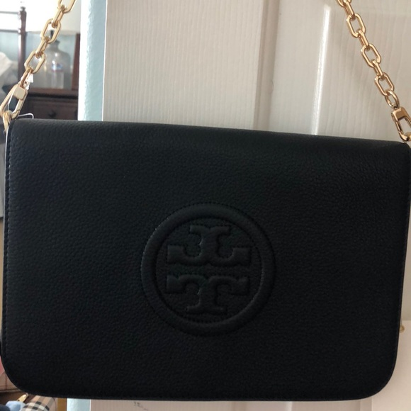 5b966cda860 Tory Burch Bombe Convertible Clutch Black NWT